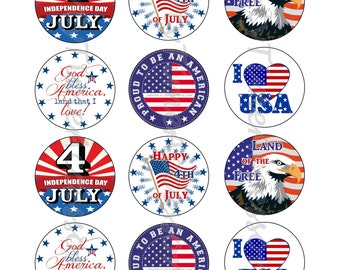 Patriotic 4th of July Edible Cupcake/Cookie Toppers for Birthday Party or other Special Occasion!