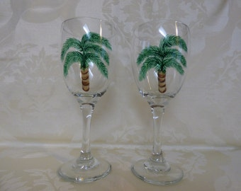 Palm Tree Hand Painted Wine Glasses-2