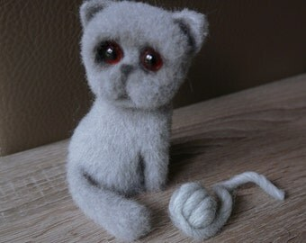 Needle felted cat. Scottish fold cat. British cat.
