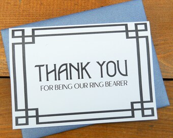 Thank You for being our RING BEARER Card with Shimmer Envelope, Wedding Note Card, Ring Bearer Thank You Cards, Wedding Thank You Card