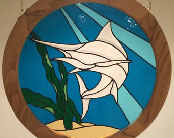 Stained glass marlin