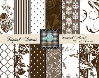 Digital Paper, Scarapbook Paper, Floral Shabby Background Paper, Brown and WhiteFloral Digital Paper,Toile Paper. No. V3.15.DA