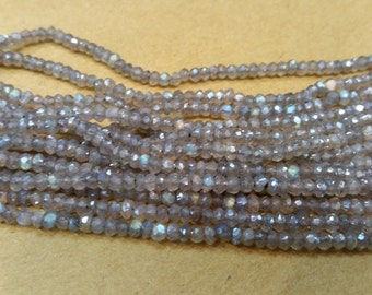 6 strand Pack Labradorite  Mystic faceted 3mm, Blue Labradorite micro faceted