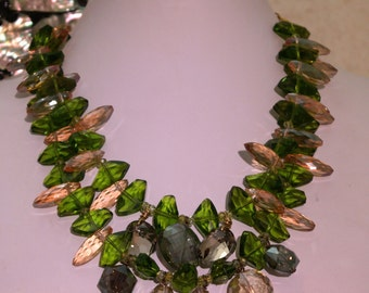 Statement Crystal Necklace - Green and Gold Crystal Statement Necklace