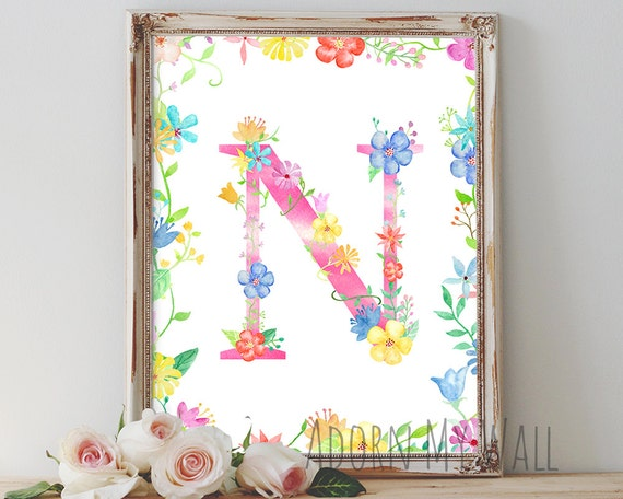 Letter n wall art monogram floral nursery decor instant for Letter n decorations