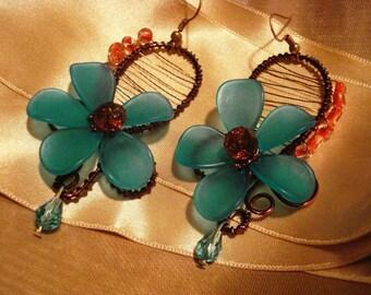Earrings,Flower earrings,Wire earrings,Handmade earrings,acrylic flower earrings,Frosted flower earrings