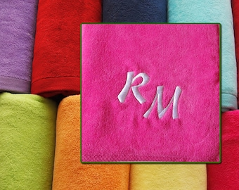 """Large Beach Towel Personalized Embroidered Monogram - 100% Cotton - Size 100cm x 180cm (39"""" x 71"""")"""