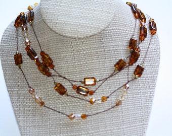 Copper Colored Multi Strand Necklace