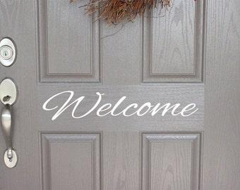 Welcome Door Decal   Front Door Decal   Door decal   Entryway Decal   Home Curb Appeal   Home Sweet Home   Outdoor Decor