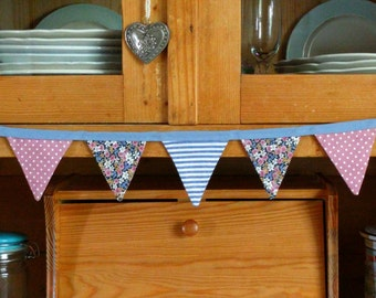Bunting - blue & pink flowers/spots/stripes