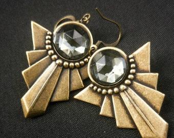 Hypoallergenic earrings Art Deco earrings Geometric jewelry Art Deco jewelry Vintage earrings Vintage jewelry Hypo allergenic Niobium
