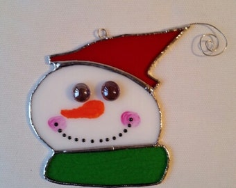 Stained Glass - Snowman tree ornament