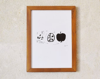 apple · original linocut · limited · DIN A5