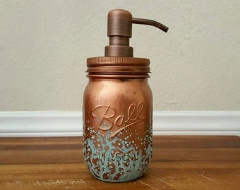 Mason Jar Soap Dispenser - Blue Patina