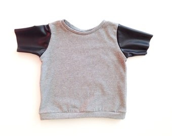 Gray T-shirt w/ Faux Leather Sleeves, Infant shirt, Toddler shirt, Baby Shirt