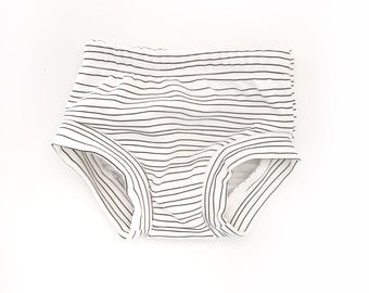 bloomers, diaper cover, organic cotton, minimal stripe