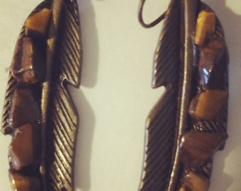 Tigers Eye Feather Look Earring  of Safety