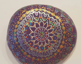 "Mandala sparkle pebble ""indian summer"" lilac - gift - wedding - birthday - engagement - retirement - baptism - first communion - home decor"