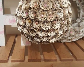 beautiful book pages kissing ball / pomander