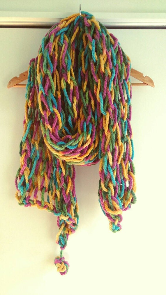 Chunky scarf Fluffy Scarf Colorful Scarf by CloudCraftssKnit