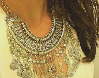 Ethnic Boho Silver Necklace with Coins Details - HOTOTO