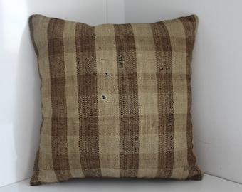 16 x 16 Kilim Pillow Cover 40 cm x 40 cm Vintage Turkish Kilim Rug Pillow Covers Cushion Covers Stripe Designs Throw Pillows Accent Pillows