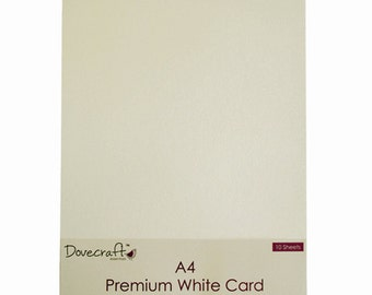 10 sheets of Dovecraft A4 premium White card 240 gsm
