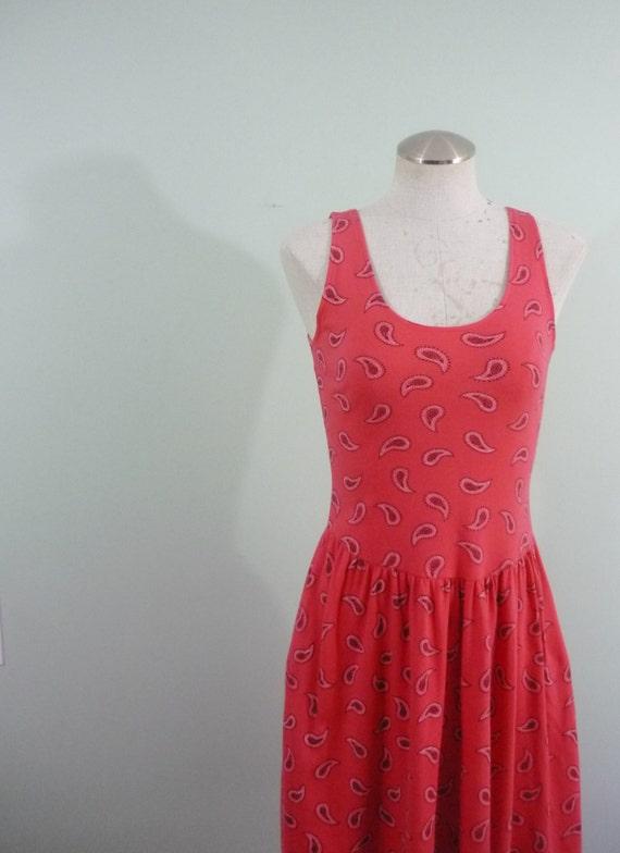 1980s-1990s Tomato Red Midi Dress / Bandana Print / Scoop Waist / Tank / Pockets / Full Skirt / Modern Size Small S to Medium M