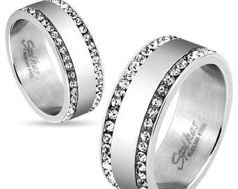 wo Lined CZ Edges Stainless Steel Couples Ring