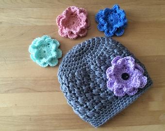 Crochet hat with interchangeable flowers, gray crochet baby hat, winter hat, crochet flower hat