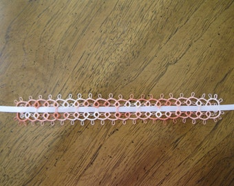 Lacy Variegated Peach Tatted Bookmarker