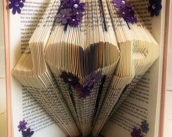 Anniversary Gift for Book Lover - Folded Book Art Featuring Custom Initials with a Heart