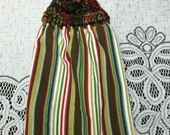 Crochet kitchen hanging hand towel