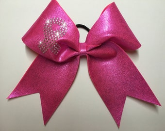 Breast cancer awareness, rhinestone cheer bow - finished bow