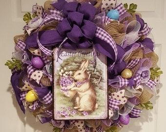 Lavender Wreath, Bunny Wreath, Round Wreath, Purple Wreath, Easter Wreath, Burlap Wreath, Door Wreath, Spring Wreath