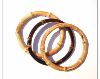 Tiki Bamboo Bangle, Natural or Burnt - 3 pcs - Rockabilly, VLV, 1950s