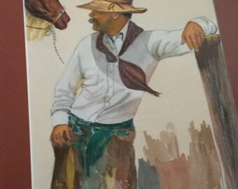 Watercolor Portrait of a Cowboy by C.D. Statton