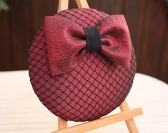 Fascinator red taffeta with power and loop