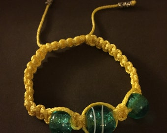 Yellow macrame bracelet with Glass beads