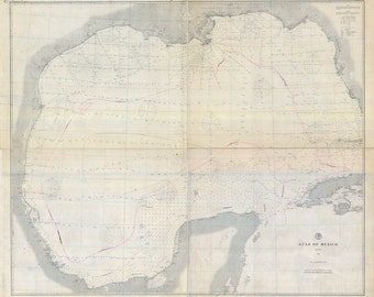 1879 Nautical Map of The Gulf of Mexico