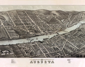 1878 Aerial Map of Augusta Maine