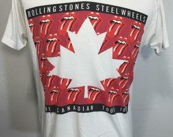 80's vintage rolling stones canadian tour t shirt cocert 1989 size XL