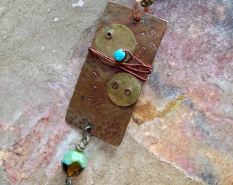 Hammered Textured Copper Neckace