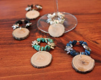 Large Wood Wine Charms--Turtle Accent Set of 5