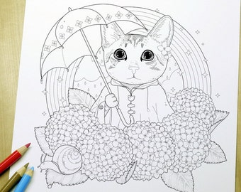 Lovely kitty - Adult Coloring Page Print