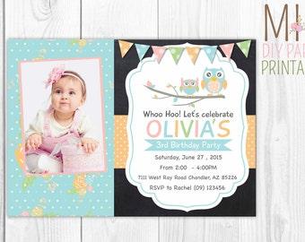 Owl Photo Invitation, Owl Printable Invitation,OWL Birthday Party ,Owl Invitation,Owl Photo Invitation,,Owl party,Owl Birthday