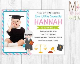 Lawyer Birthday Photo Invitation,Law School Graduation Invitation,Law School Graduation Summons,Lawyer Party, Lawyer Invitation