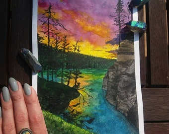 Colorful sunset original watercolor painting