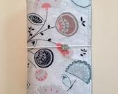 Blue & Pink Floral Fabric Fauxdori, Midori-style cover, traveler's notebook, dori