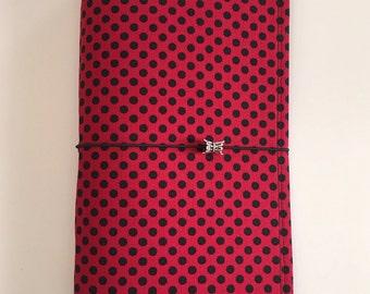 Red w/Black Polka Dots Fabric Fauxdori, Midori-style, Traveler's Notebook, Leahdori